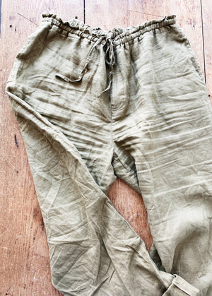 Olive Green Linen Easy Pants