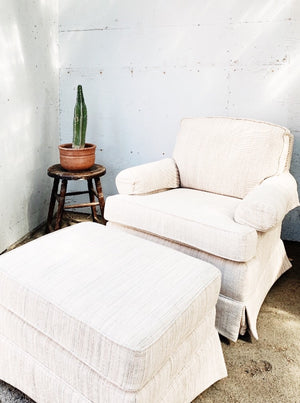 Vintage Reading Chair and Ottoman