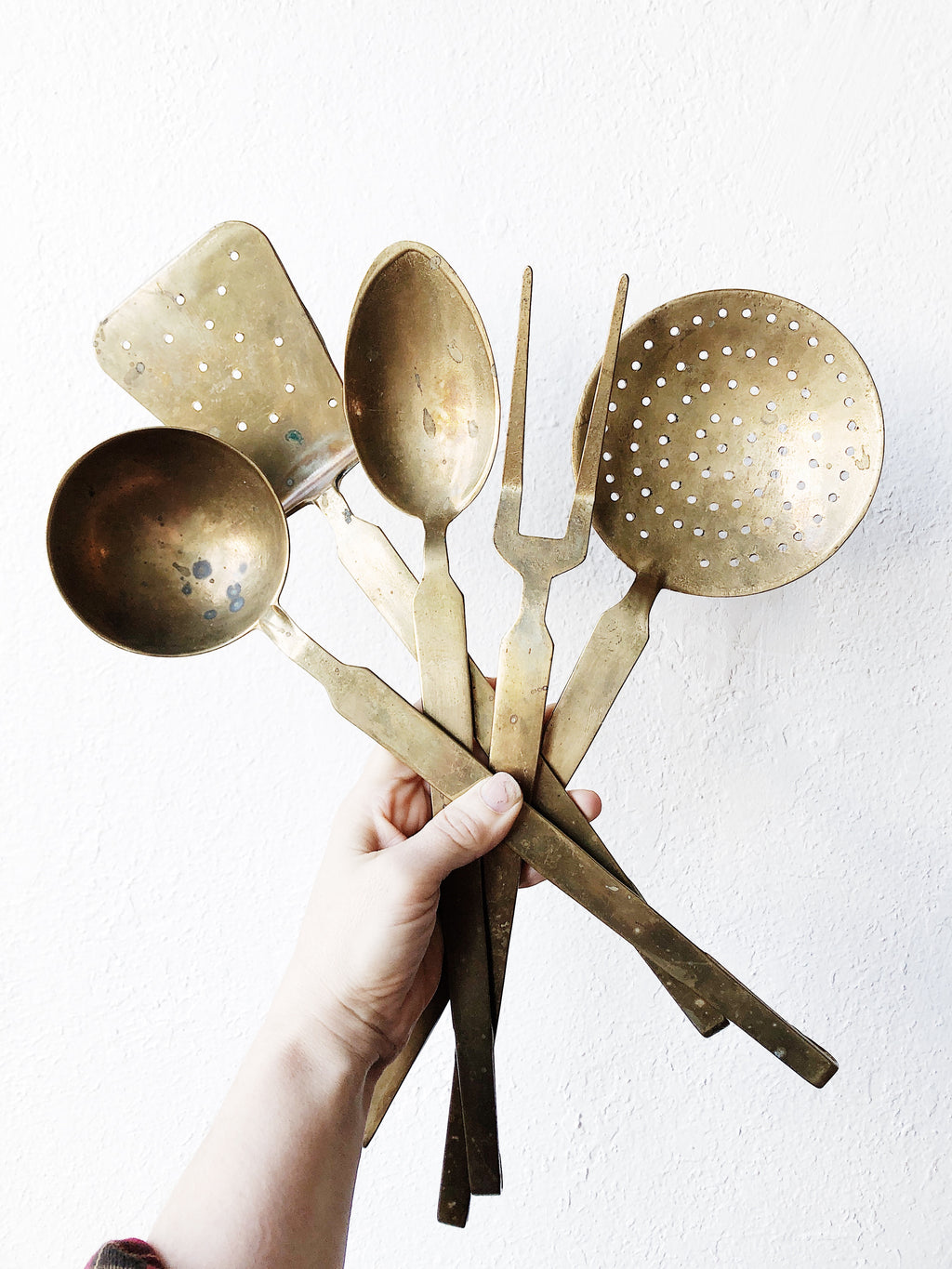Oversized Vintage Brass Serving Utensil Set