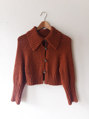 Rust Cropped Cotton Cardigan