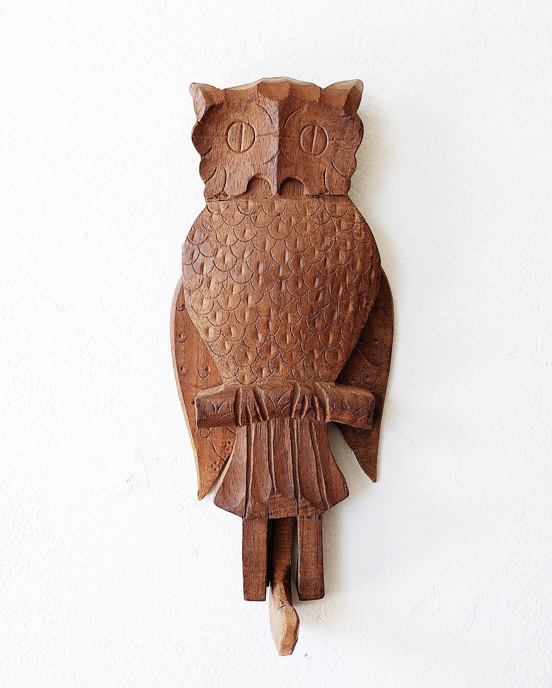 Wooden Folk Owl Hook