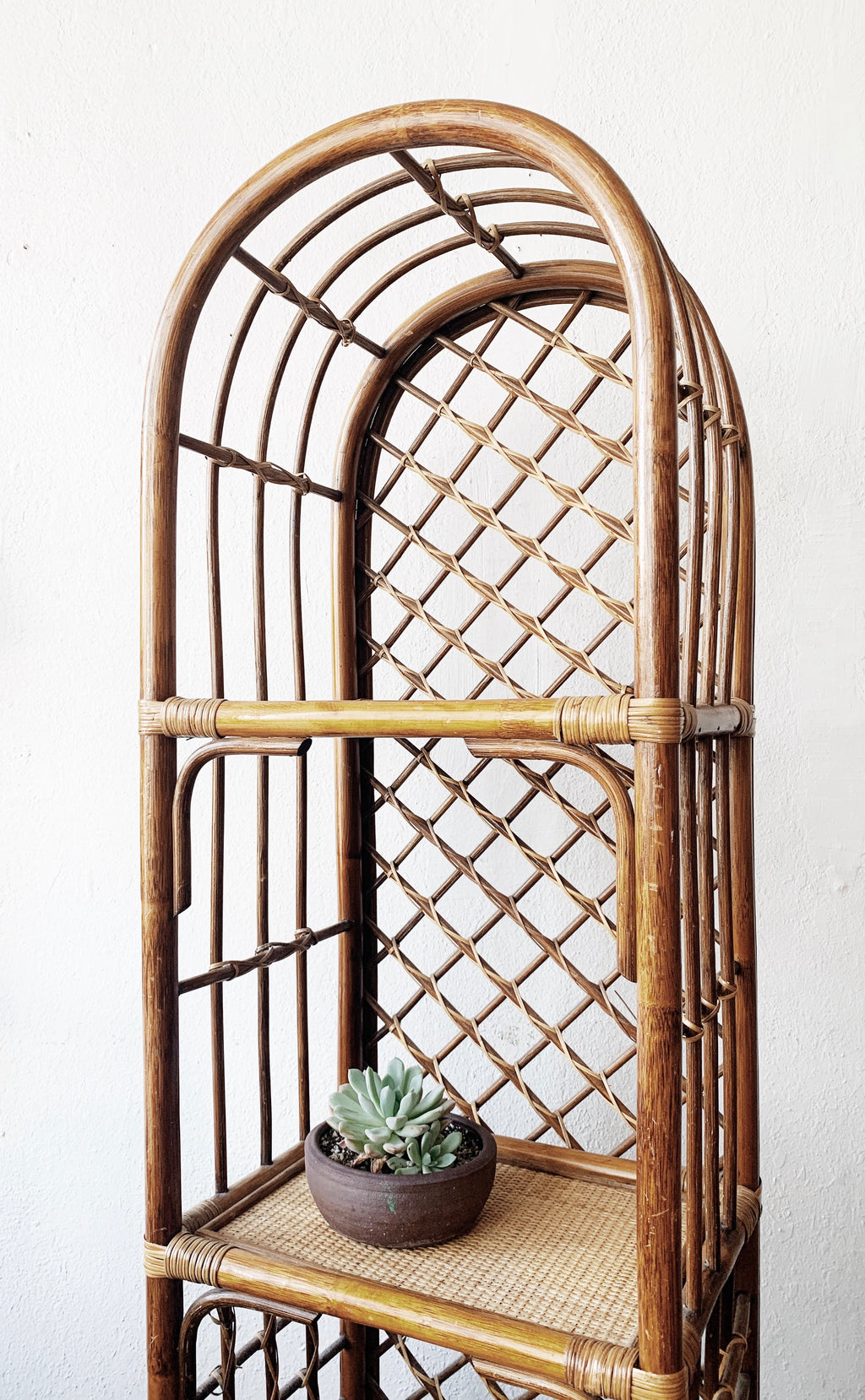 Vintage Arched Rattan Shelf