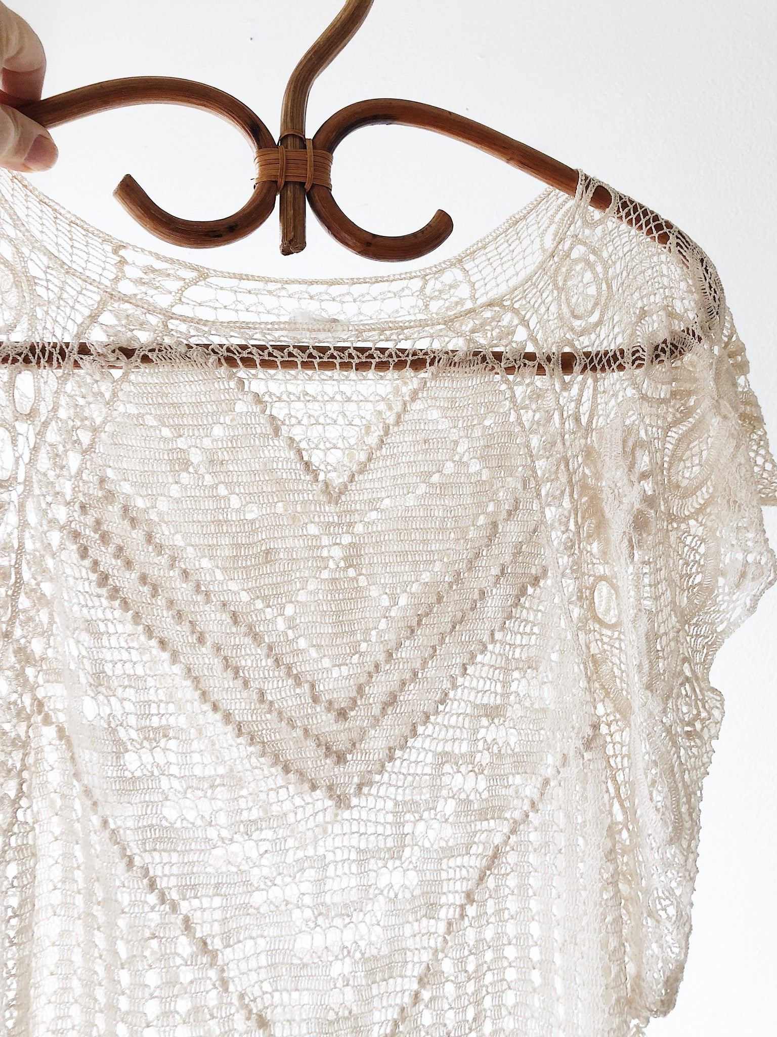 Vintage Tatted Lace 1970s Top