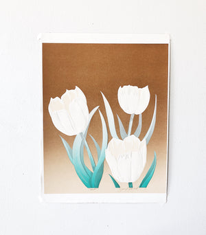 Vintage Embossed Tulips Screen Print