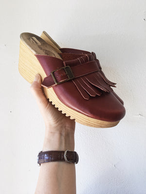 Vintage Leather Wedge Clogs