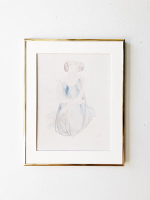 Vintage Rodin Watercolor Print
