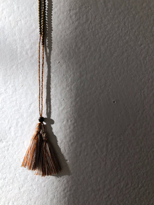 Handmade Glass Beaded Silk Tassel Necklace