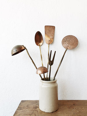 Vintage Copper Utensil Set