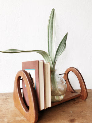 Vintage MCM Teak and Brass Book Rack
