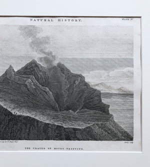 Antique 1800s Volcano Etching