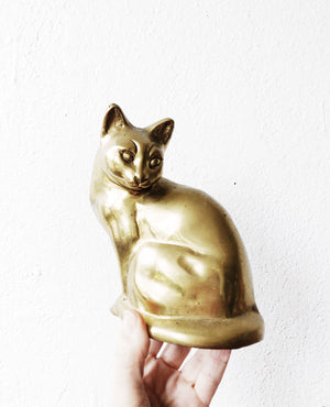 Large Vintage Cast Brass Cat