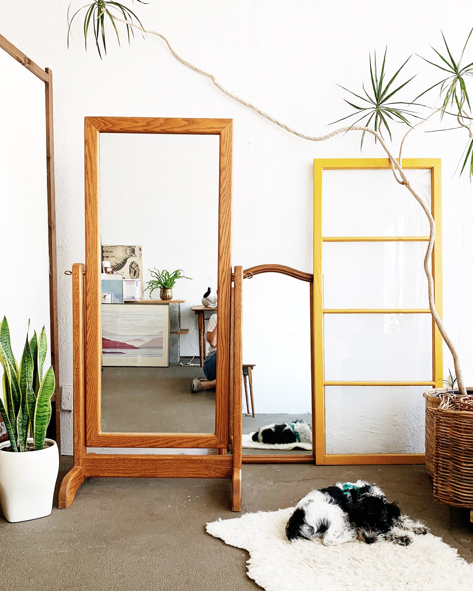 Vintage Oak Dressing Mirror