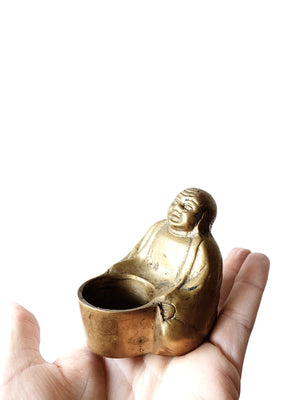 Brass Buddha with Incense/Offering Bowl