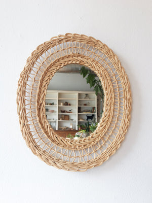 Vintage Wicker Framed Mirror