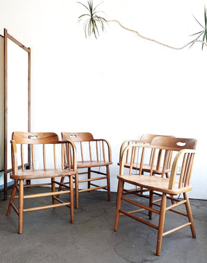 Set of Four Vintage Oak Captains Chairs