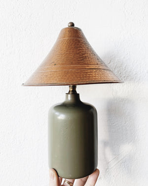 Small Olive Green Lamp With Copper Shade