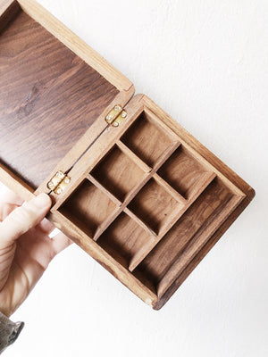 Vintage Carved Wood Box with Dividers