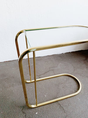 Vintage Gold Tone Side Table with Glass Top