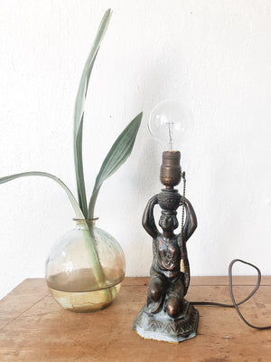 Vintage 1920s Stamped Metal Goddess Lamp