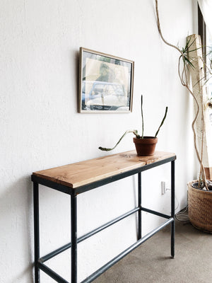 Vintage Steel and Wood Console Table