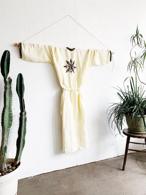 Long Woven Cotton Embroidered Robe