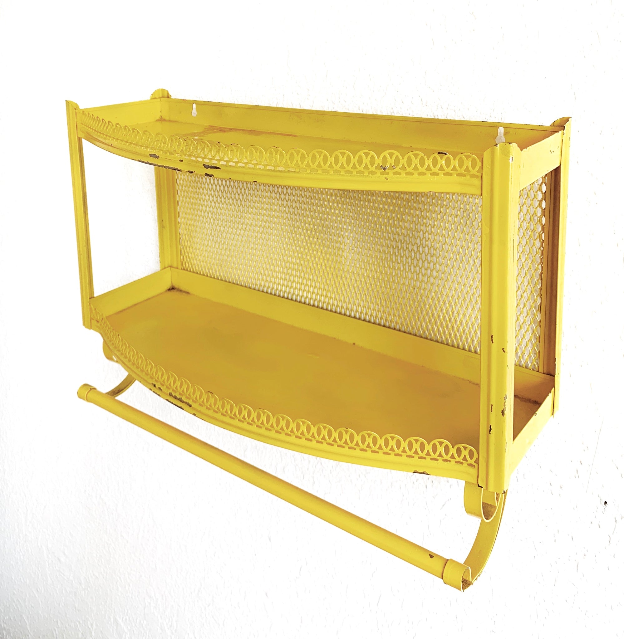 Mid Century Acid Yellow Metal Shelf