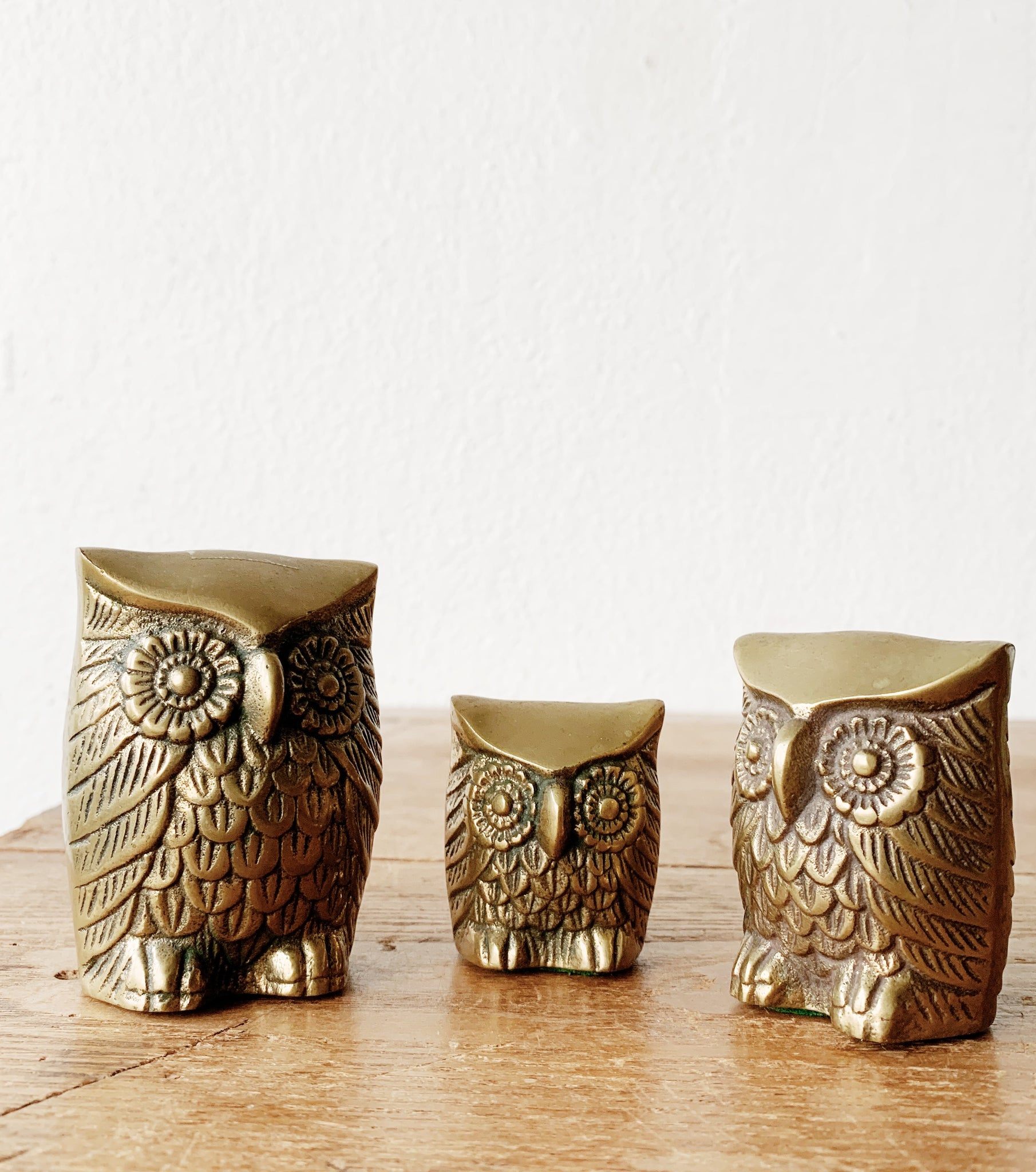Vintage Solid Brass Owl Trio