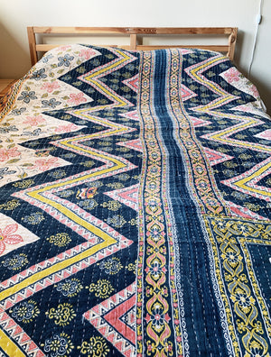 Vintage Reversible Cotton Kantha Quilt