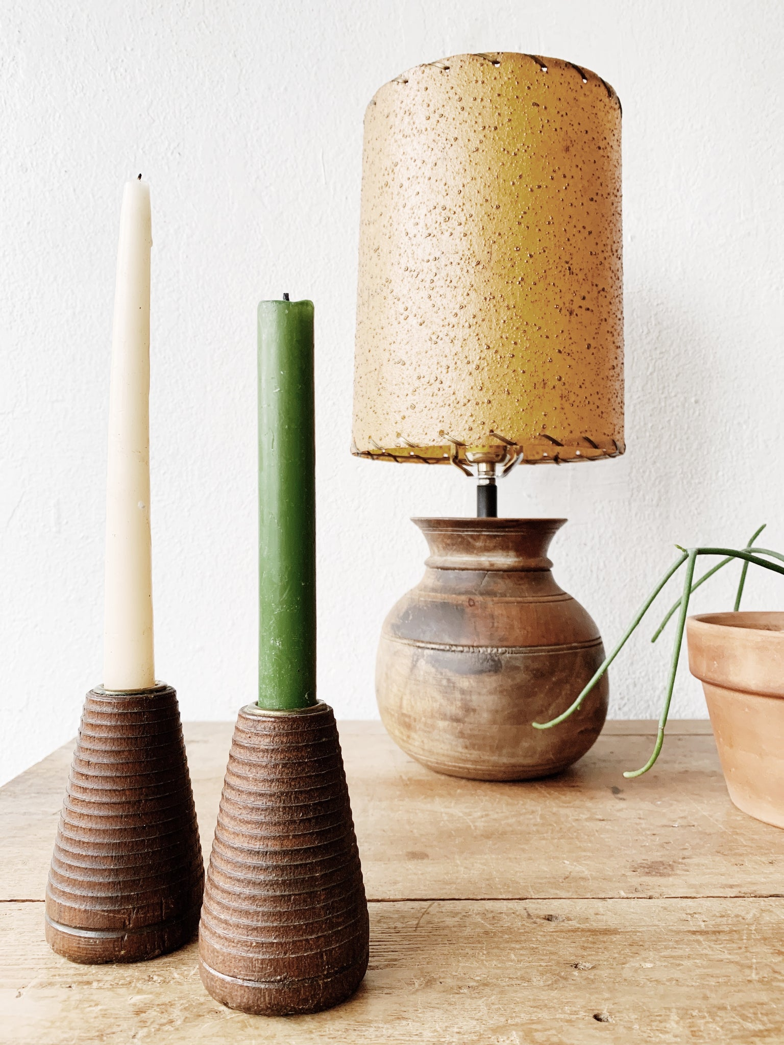 Vintage Wood Spindle Candle Holders