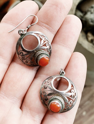 Vintage Sterling Silver Earrings with Carnelian