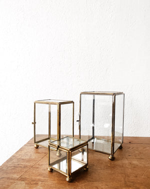 Vintage Glass and Brass Display Boxes