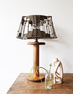 Vintage Spool Lamp with Rope Shade