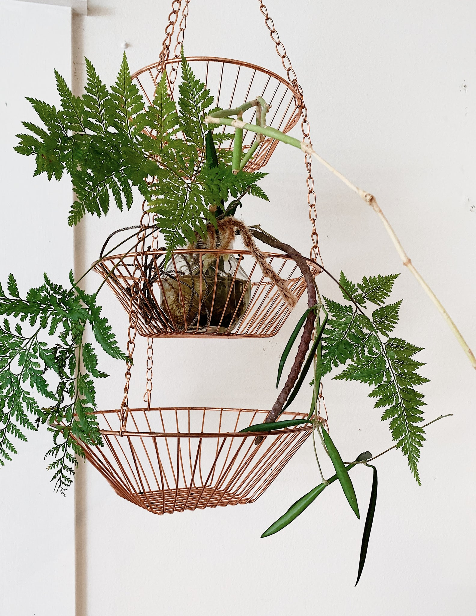 Triple Hanging Copper Baskets