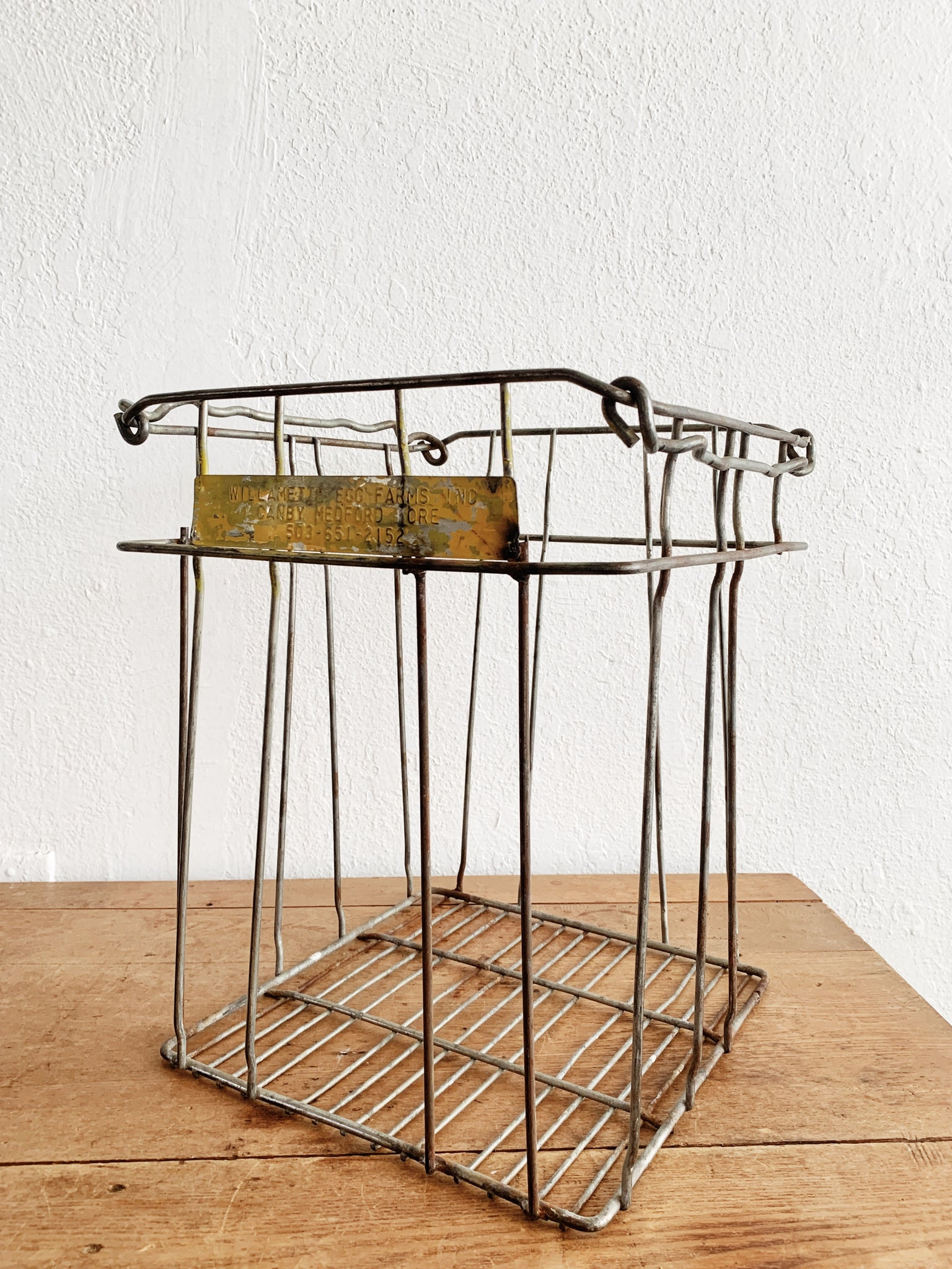 Vintage Metal Egg Crate /Industrial Stand