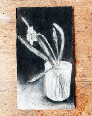 Vintage Charcoal Narcissus Still Life