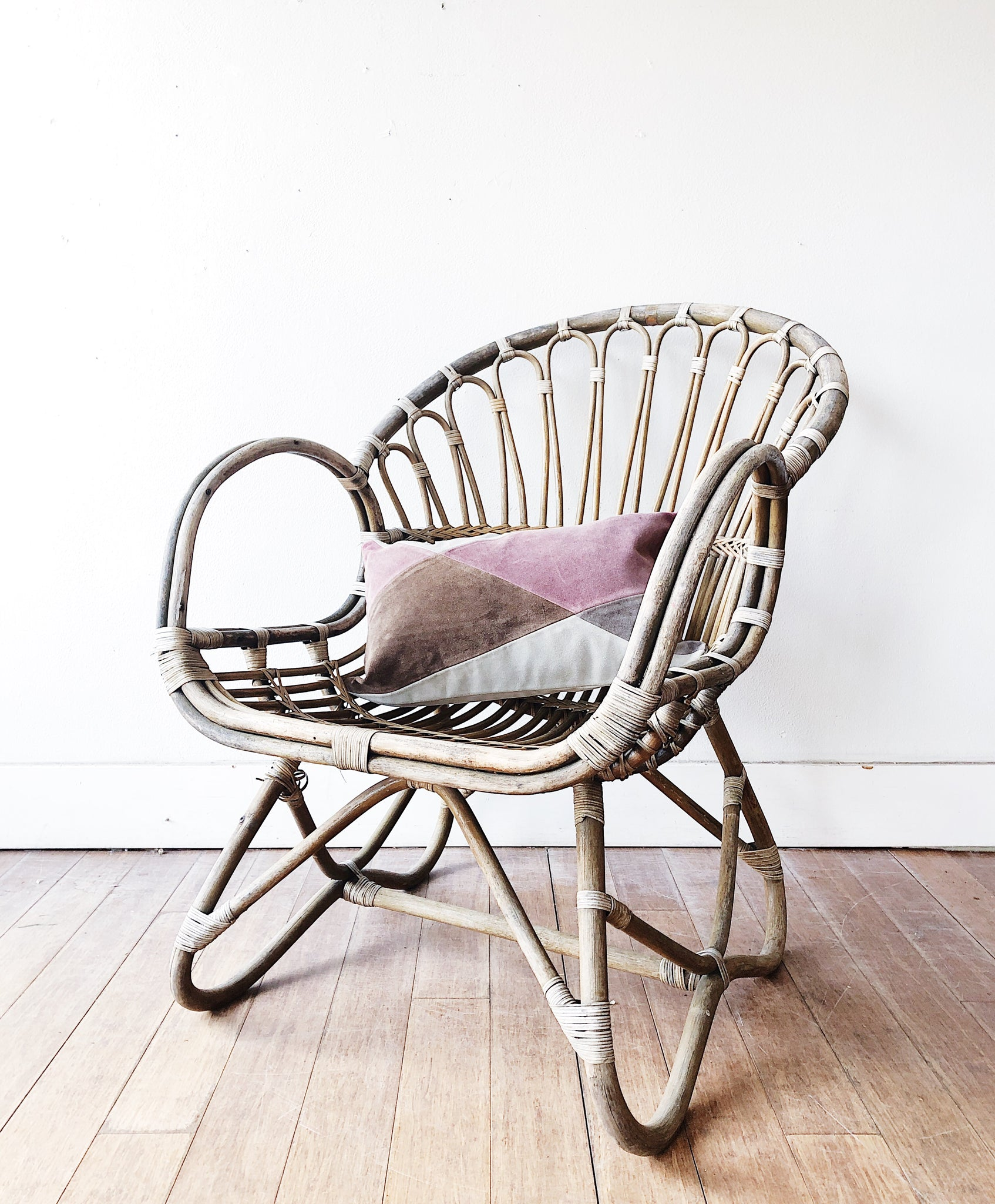 Vintage Franco Albini Rattan Chair and Suede Cushion