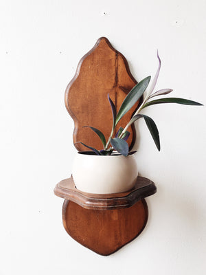Vintage Wood Wall Planter and Brass Pot