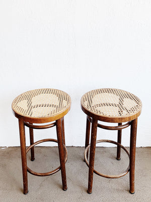 Vintage Wood Stool with Caned Tops