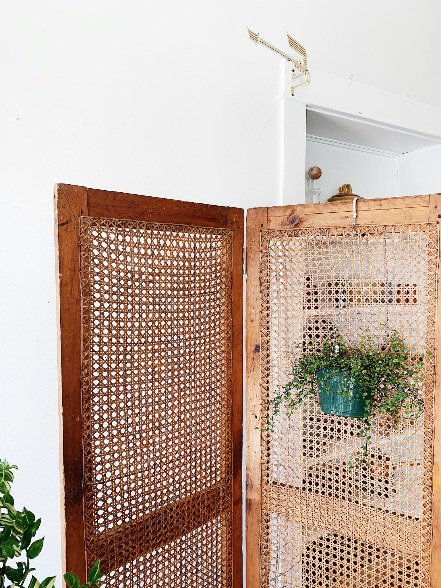 Vintage Wood and Caning Space Divider