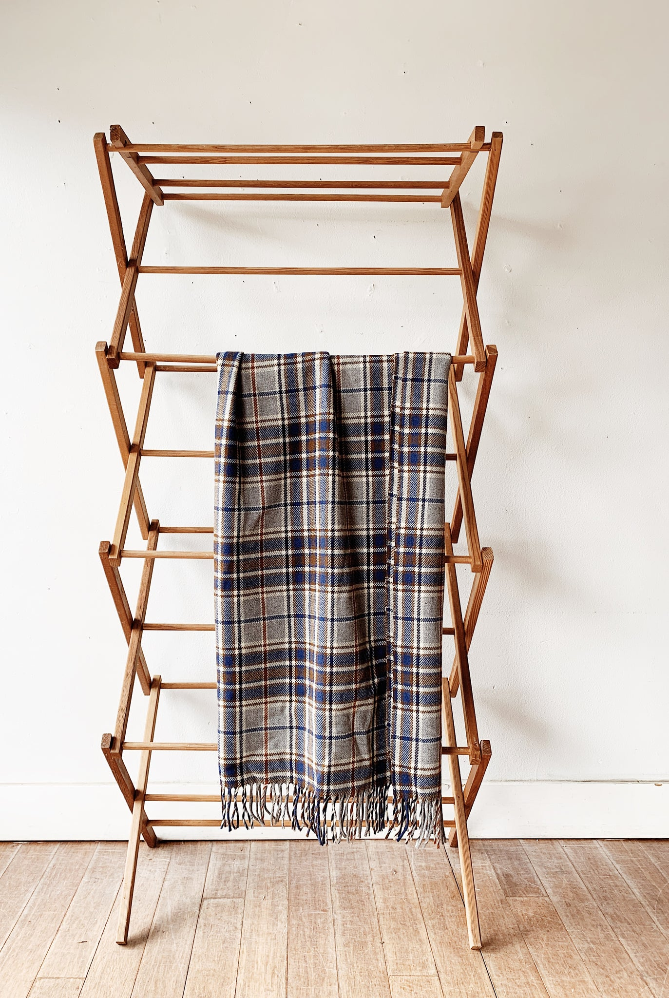 Large Vintage Collapsible Wood Drying Rack