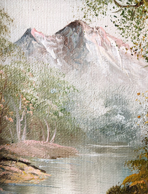 Vintage Pink Mountain Oil Painting