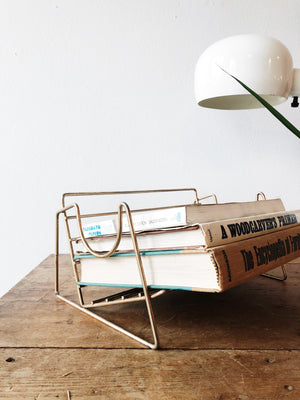 Vintage Brass Book Rack