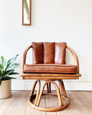 Vintage Bamboo and Vinyl Chair
