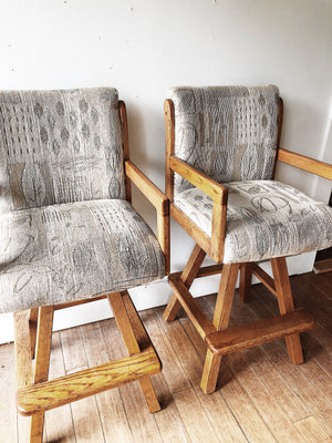 Pair Vintage Oak Swivel Bar Stools