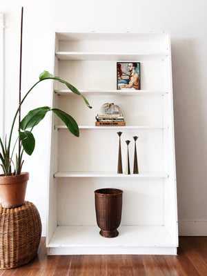 Tall Vintage Wood Library Shelf