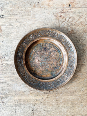Vintage Incised Pictorial Copper Dish