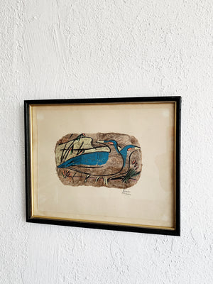 Vintage Signed Hand Painted Bark Art