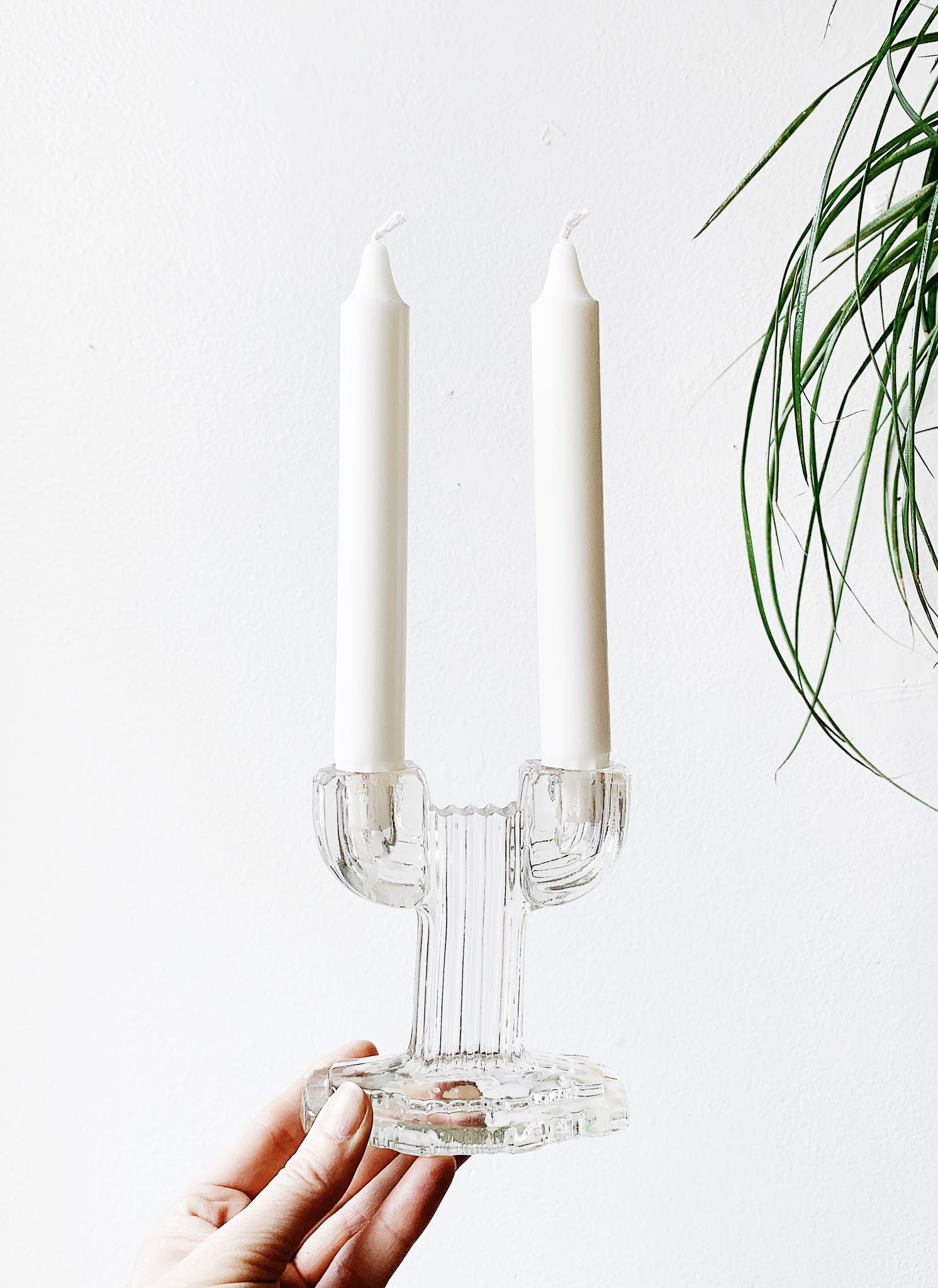 Vintage Cut Glass Cactus Candle Holder