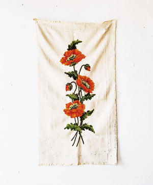 Vintage Embroidered Floral Textile