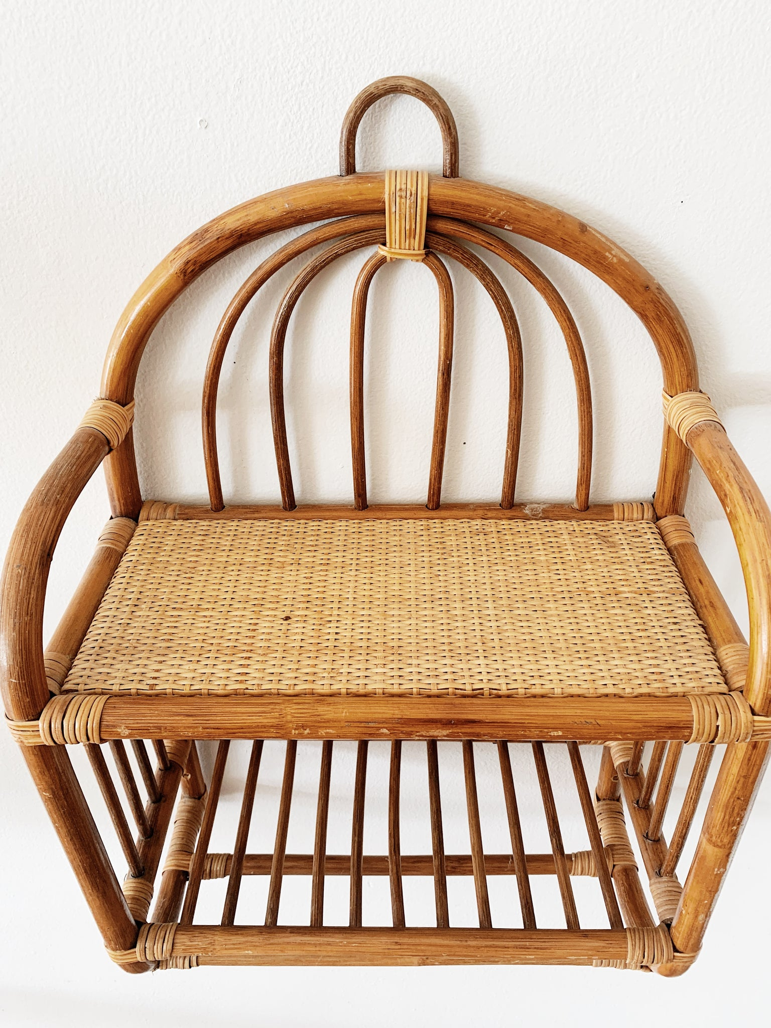 Vintage Rattan and Wicker Wall Shelf